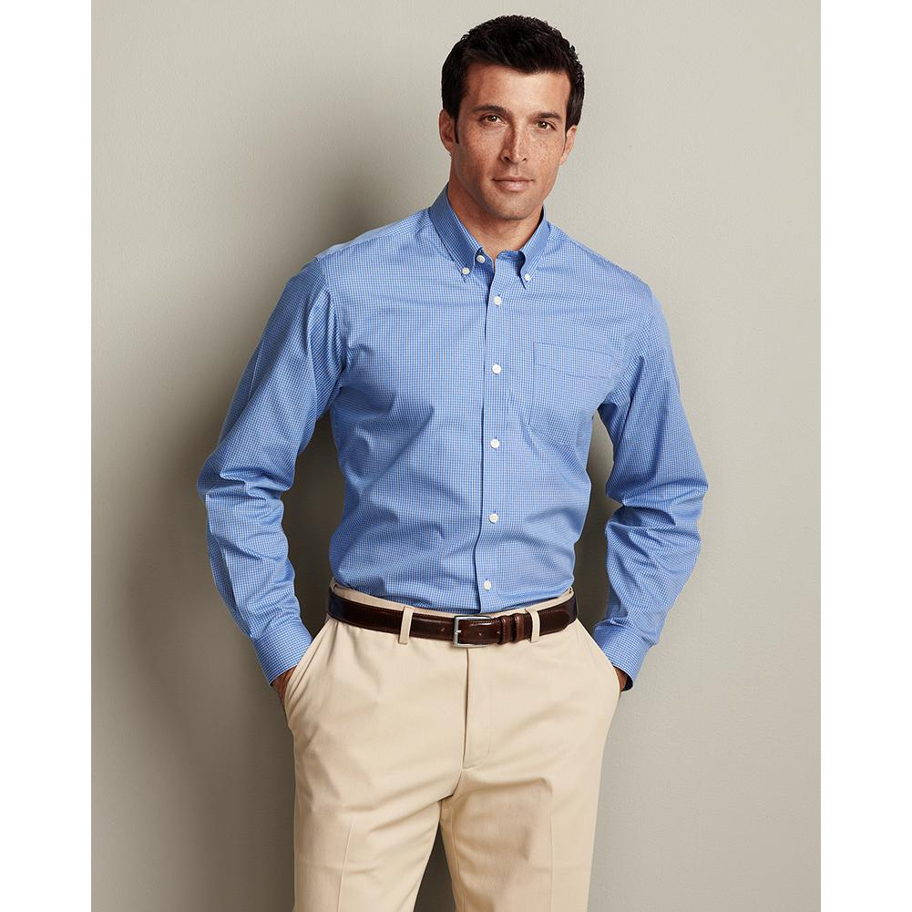 Entertainment Eddie Bauer Relaxed Fit Wrinkle-Free Pinpoint Oxford Shirt - Blues - Our exclusive ComfortCloth technology keeps this great-looking cotton button-down oxford shirt crisp and smooth, even when pulled from a duffel or overnight bag. The fabric is breathable and moisture-wicking, and guaranteed to retain its wrinkle-free appearance, shape, and color for 50 washes. Engineered for maximum comfort and easy movement, including a center back pleat and our most generous fit. - $59.99