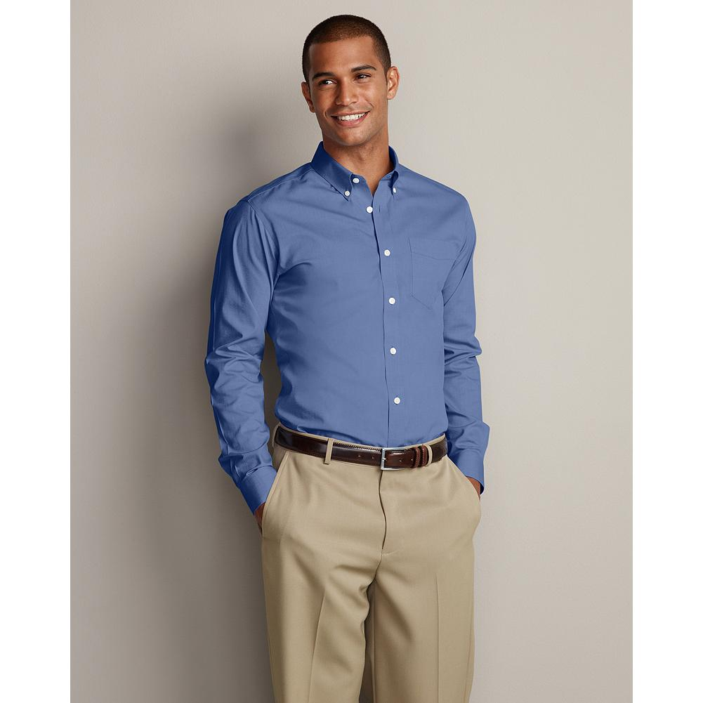 Entertainment Eddie Bauer Slim-Fit Wrinkle-Free Pinpoint Oxford Shirt - Solid - Our exclusive ComfortCloth technology keeps this great-looking cotton button-down oxford shirt crisp and smooth, even when pulled from a duffel or overnight bag. The fabric is breathable and moisture-wicking, and guaranteed to retain its wrinkle-free appearance, shape, and color for 50 washes. Engineered for comfort and easy movement, including a center back pleat and our Slim fit. - $49.99
