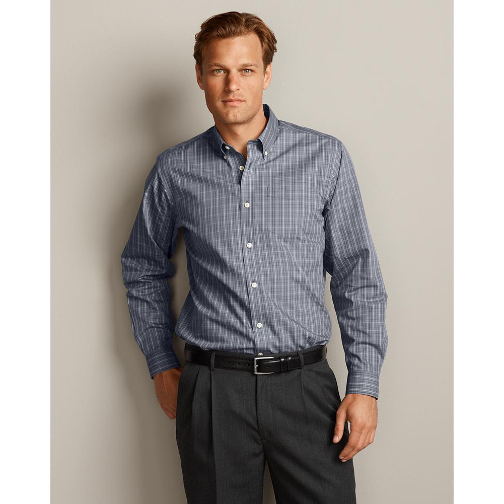 "Entertainment Eddie Bauer Relaxed Fit Wrinkle-Free Pinpoint Oxford Shirt - Long Sleeve - Our anti-wrinkle technology keeps this great-looking button-down oxford shirt crisp and presentable, even when pulled from a duffel or overnight bag. It's tested and trusted to retain its wrinkle-free appearance, shape, and color for 50 washes-guaranteed, and our COMFORTCLOTH microfiber technology helps lift moisture away from skin, providing a higher degree of breathability and wicking performance.  Our new Relaxed fit is our most generous one, a roomy 2"" fuller through the chest than our Classic fit. Like all our new fits, it's been reengineered for maximum comfort and easy movement, with back pleats, slightly larger sleeves at biceps/forearms, slightly deeper armholes, ample body length, and a comfortable neck. (Please see Men's Size Chart for more information.) - $19.99"