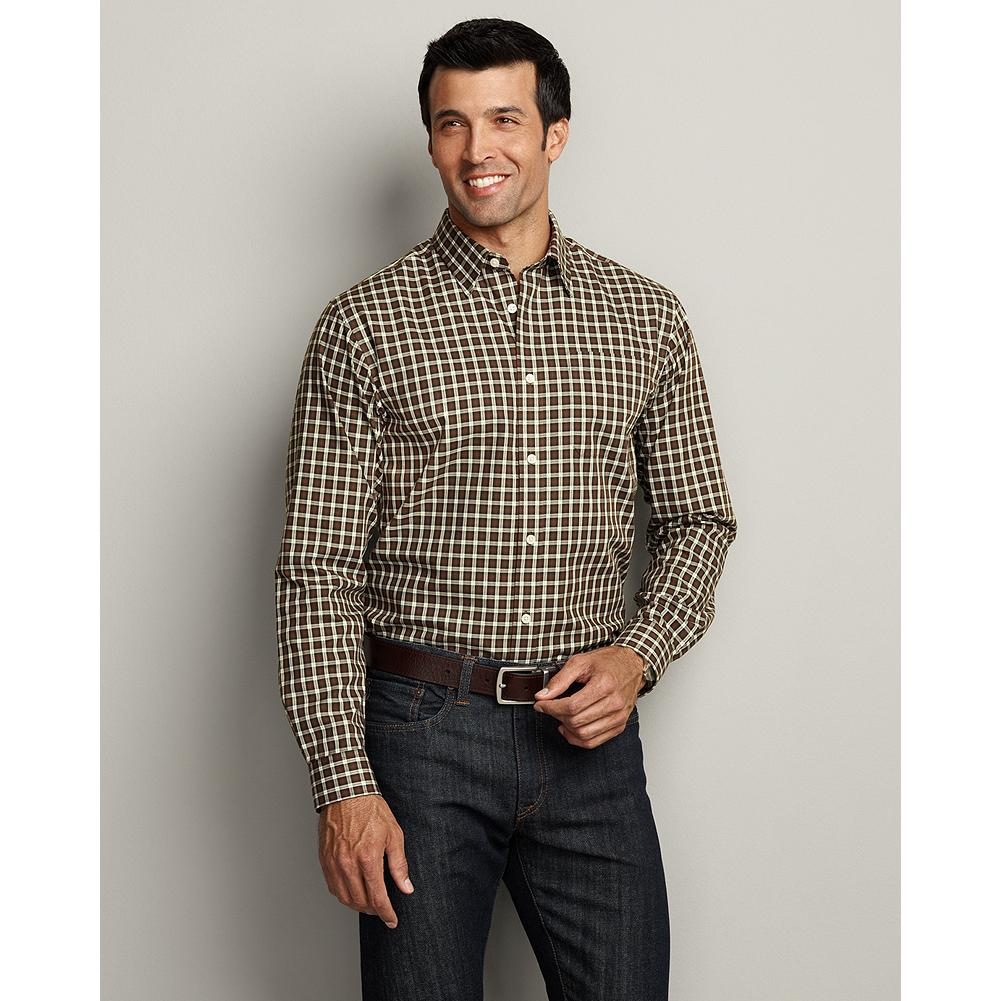 Entertainment Eddie Bauer Classic Fit Wrinkle-Free Sportsman Twill Shirt - This almost universally comfortable shirt is a classic dress shirt for work or party. - $19.99