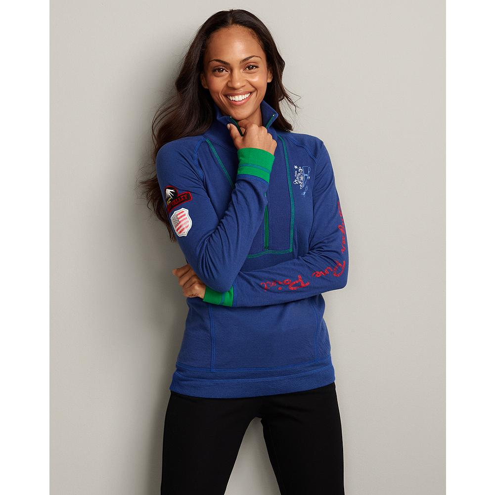 Eddie Bauer Squaw Valley Colorblock Half-Zip Pullover - A funnel neck and fun new color combination update this half-zip duofold pullover with graphic Squaw Valley-themed details on the sleeves, front, and back. - $19.99