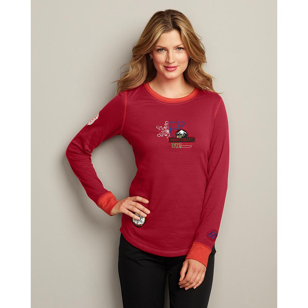 Ski Eddie Bauer Squaw Valley Double-Cloth T-Shirt - Inspired by the famous Squaw Valley ski resort, site of the 1960 Olympics, our double-knit cotton T-shirt is patched and printed, with embroidery and contrast stitching. - $9.99