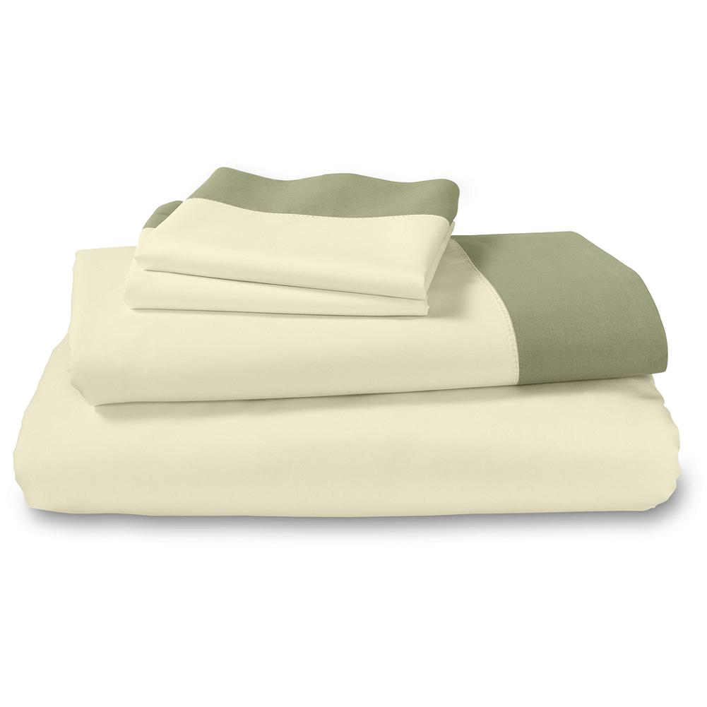 Entertainment Eddie Bauer Cascade Canyon Hem Stitch Sheet Set - The inspiration our designers find in nature is showcased in our Cascade Canyon collection. A contrast cuff in Thyme provides the sole embellishment on our exclusive 400 thread count sheet set woven in a Giza 70 cotton yarn - $129.99