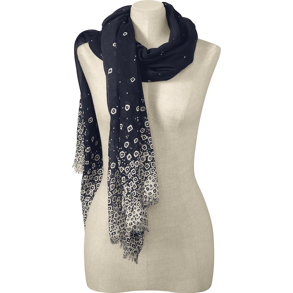 Eddie Bauer Dot Scarf - Make a spring style statement with our distinctive scarf. Crafted in versatile hues that will complement outfits of all kinds, it features a pattern of ecru dots scattered across a deep blue background. The generous length will allow you to wear it in a multitude of ways. Imported.. - $39.50