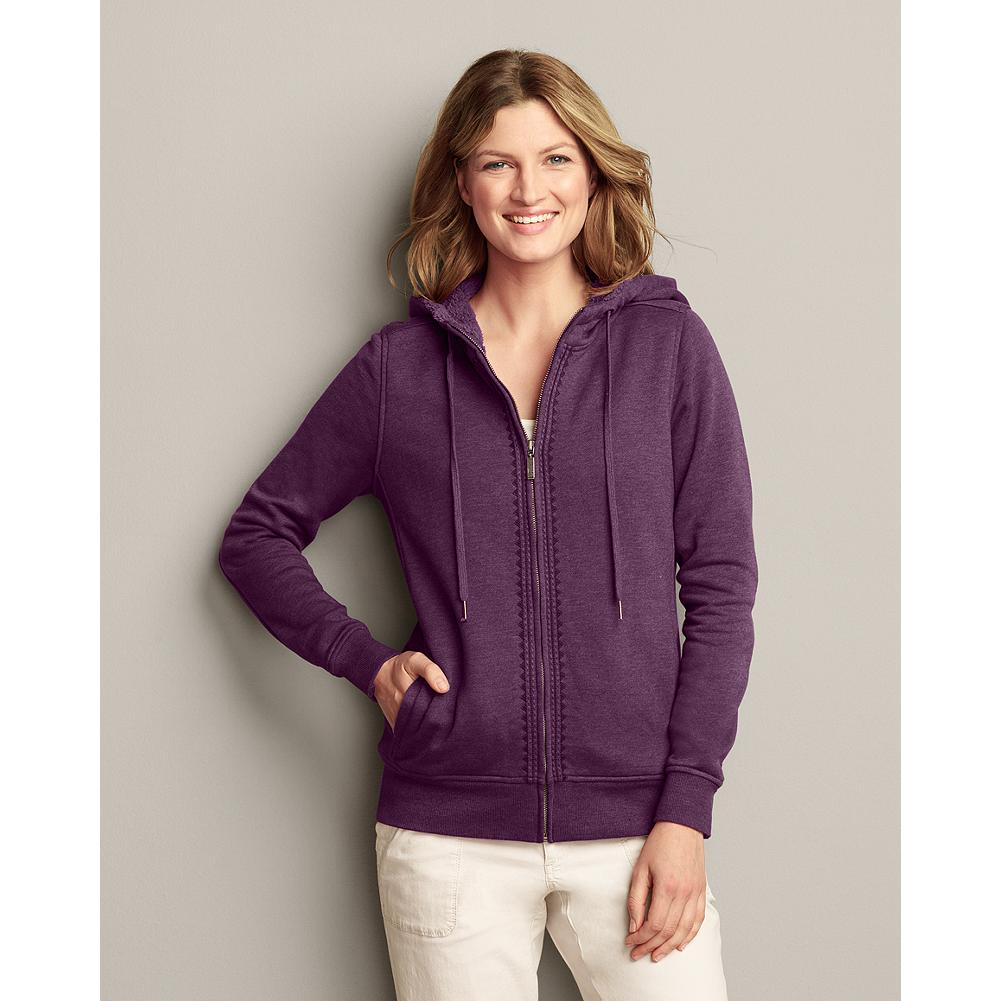 Eddie Bauer Knit Sherpa Hoodie - Our warmest, softest sherpa hoodie features dyed-to-match sherpa lining in the body and hood and delicate embroidery along the front zipper. It's pretty, and comfortable enough for lounging, but it's also warm and sturdy enough for walks in the woods. - $14.99