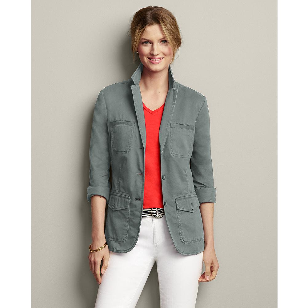 Entertainment Eddie Bauer Legend Wash Blazer - Our exclusive Legend Wash transforms this classic cotton twill blazer, giving it the lived-in softness and beautiful washed-down look of an old favorite. Throw it on over a T-shirt to dress up your jeans, or add a scarf when the sun goes down. - $100.00