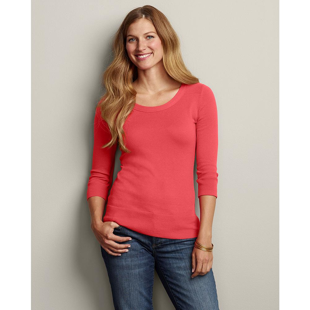 Eddie Bauer Soft Crewneck Pullover Sweater - This fine-gauge 3/4-sleeve crewneck pullover sweater is a fabulous foundation piece for your wardrobe. Made of a fine-combed, ribbed cotton blend, it has a touch of spandex at the cuffs and hem for shape retention. - $29.99