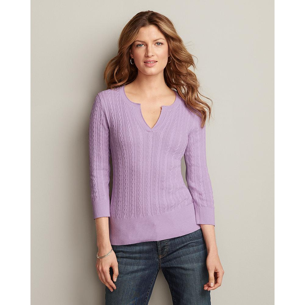 Eddie Bauer Split-Neck Cable Pullover Sweater - We've updated our best-selling cable pullover sweater with a contemporary split-neckline and flattering three-quarter length sleeves. - $14.99