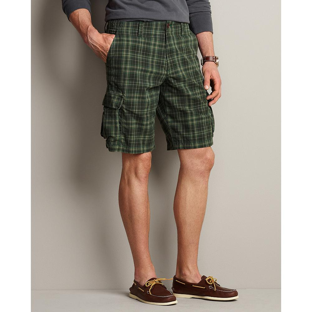 Fitness Eddie Bauer Legend Wash Expedition Cargo Shorts - Plaid - These sturdy cotton twill shorts are ready for adventure with extra-large reinforced cargo pockets, back flap pockets, and a soft, broken-in feel. In blue or green plaid. - $14.99