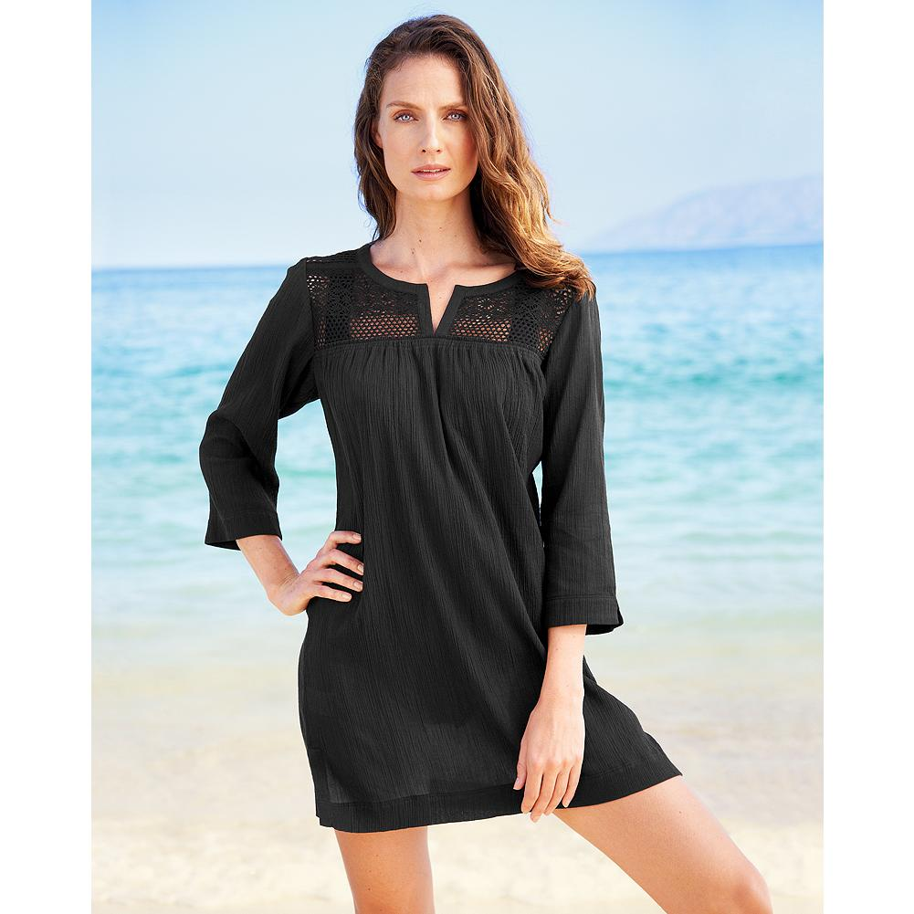 Fitness Eddie Bauer Lace-Trim Cover-Up - This lightweight cotton cover-up is the perfect addition to your beach bag, featuring dainty lace details on the front and back yoke. White or Black. - $29.99
