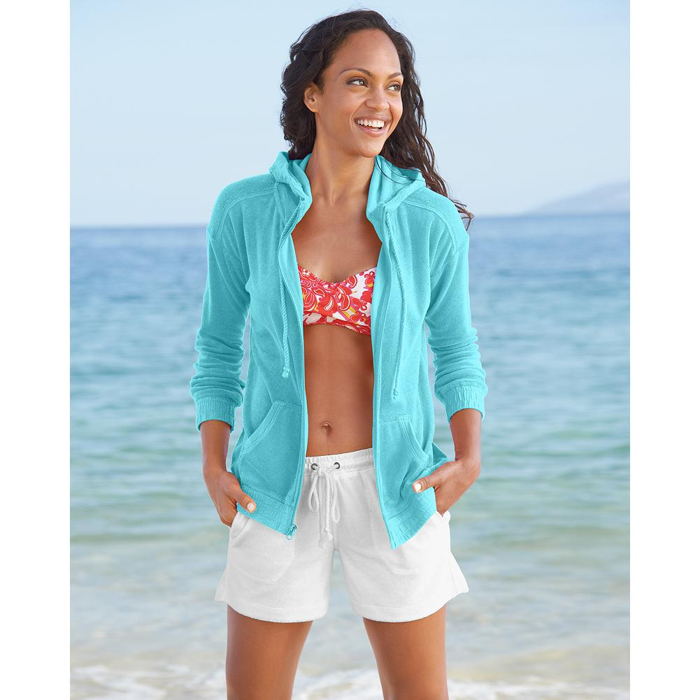 Fitness Eddie Bauer Terry Hoodie - Exclusively Eddie Bauer, this ultrasoft, comfortable, and fluid terry hoodie makes an ideal cover-up for the beach, or a casual summer layer for all your adventures. - $19.99