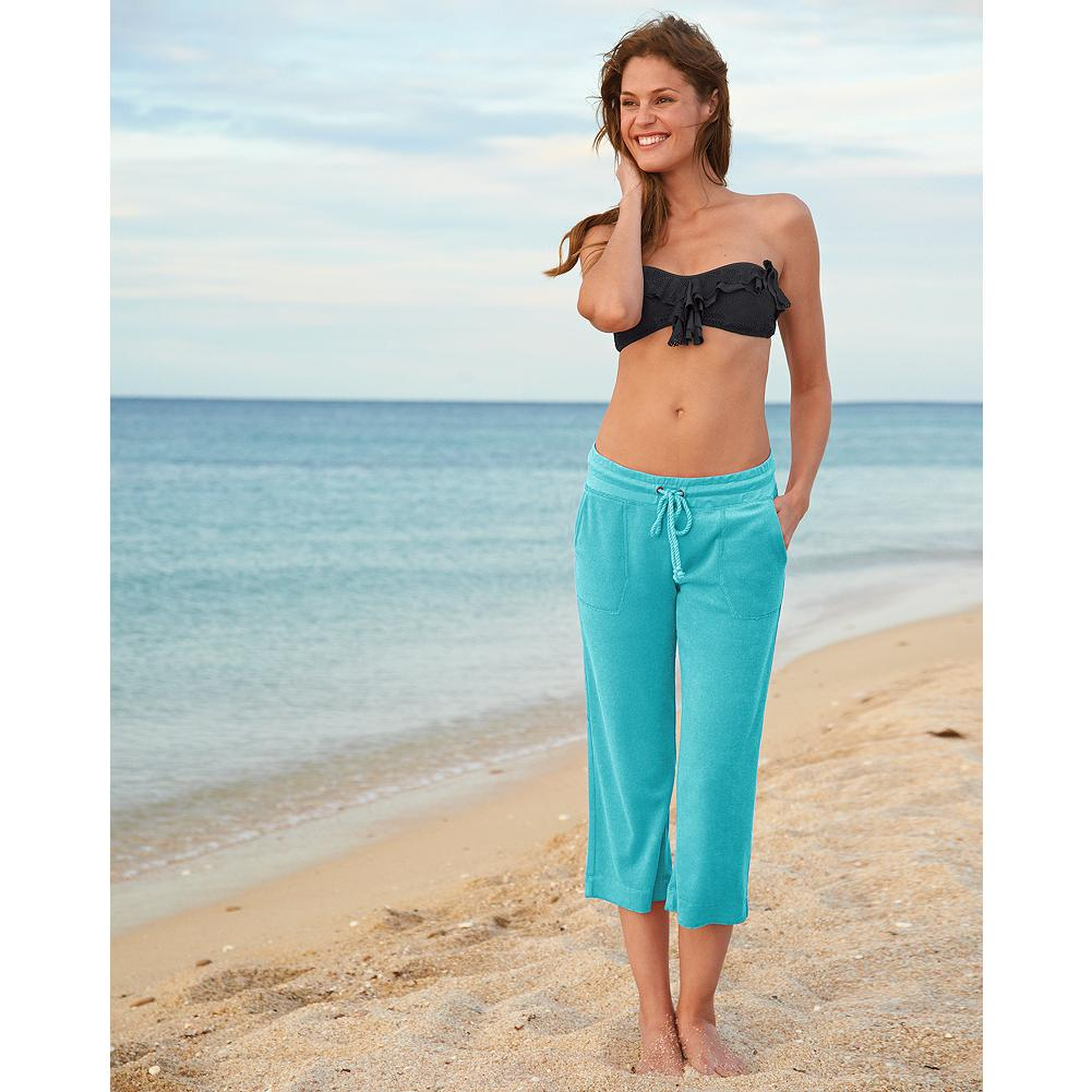 Fitness Eddie Bauer Terry Capris - Exclusively Eddie Bauer, these comfortable terry capris are an ideal beach cover-up and coordinate with our terry hoodie and hooded tunic. - $9.99
