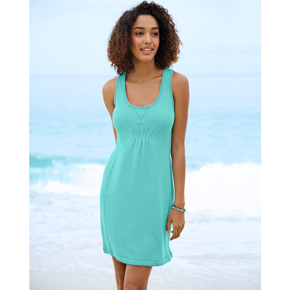 Fitness Eddie Bauer Terry Tank Dress - Exclusively Eddie Bauer, our ultrasoft, comfortable, and fluid terry tank dress is simple enough for beach wear, elegant enough for town. Ruching at the center front provides subtle shape. - $19.99