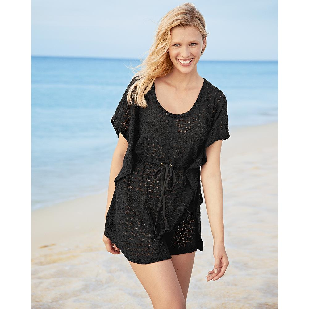 Fitness Eddie Bauer Lace Caftan - Made of airy lace fabric with a drawstring waist for an easy, adjustable fit, this breezy scoop-neck caftan makes the perfect beach coverup. - $19.99
