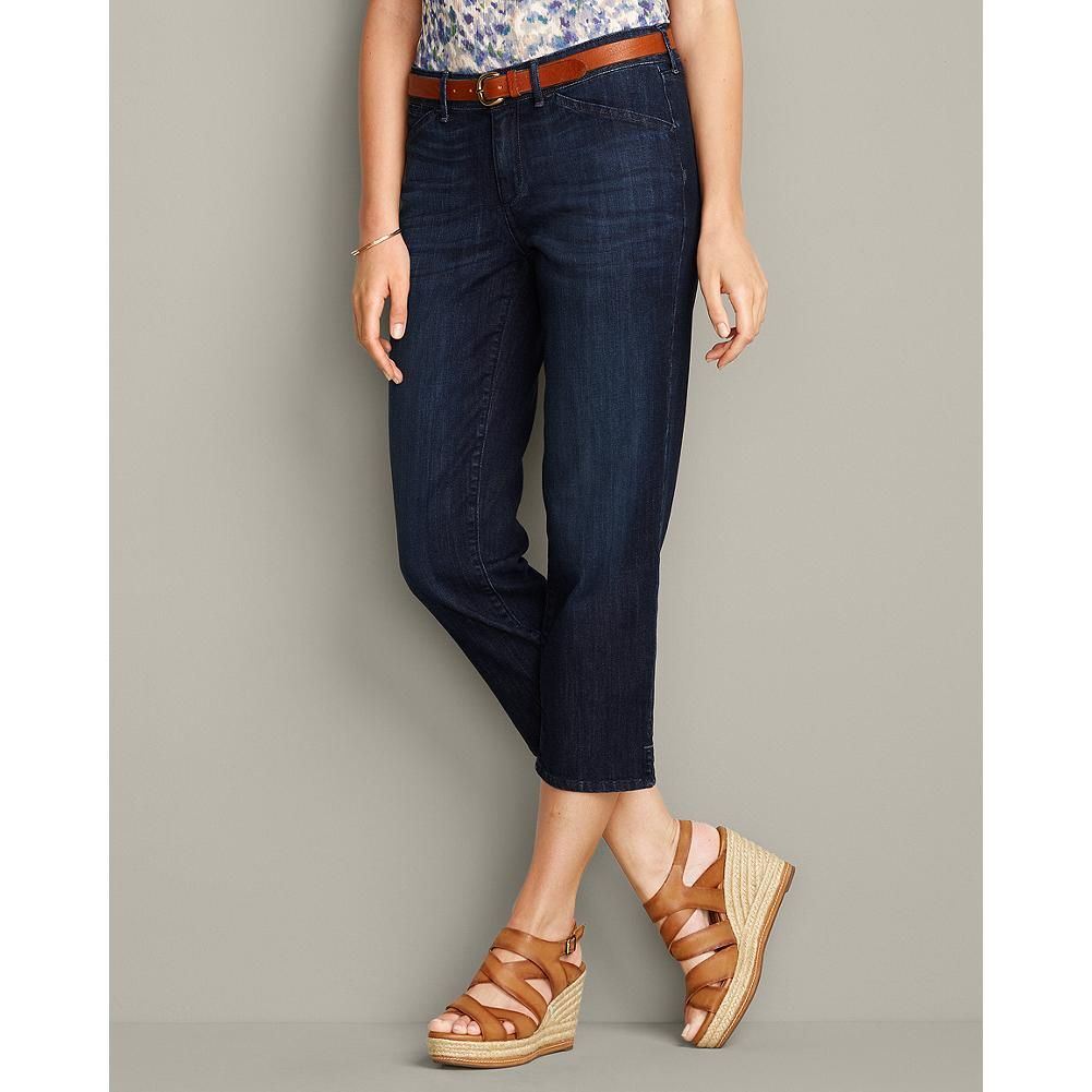 Eddie Bauer Curvy Denim Capris - Your go-to summer casual pants, these Curvy Fit straight-legged denim capris feature small slits at the hem and are available in two washes for spring. - $29.99