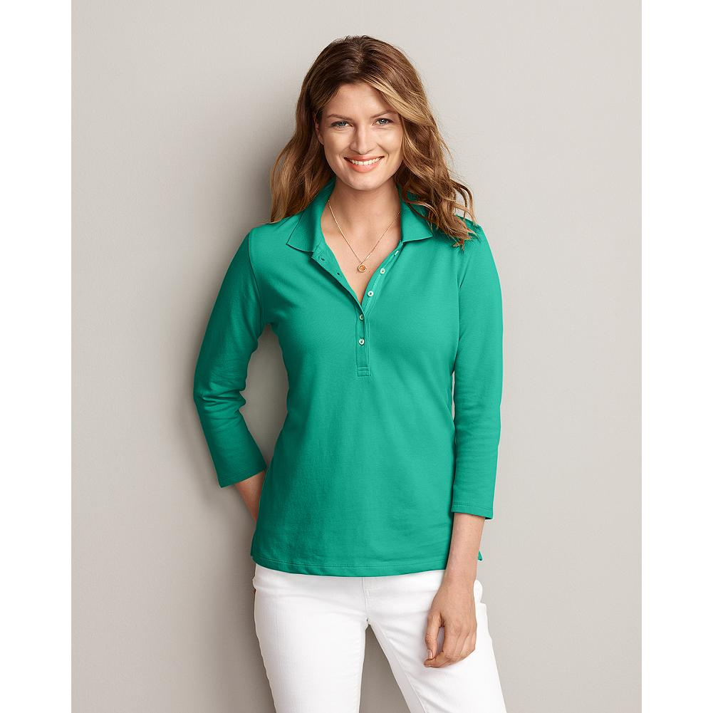 Eddie Bauer 3/4-Sleeve Pique Polo - Our 3/4-sleeve polo has been updated with a longer placket and length, but is as supremely soft as ever. - $9.99
