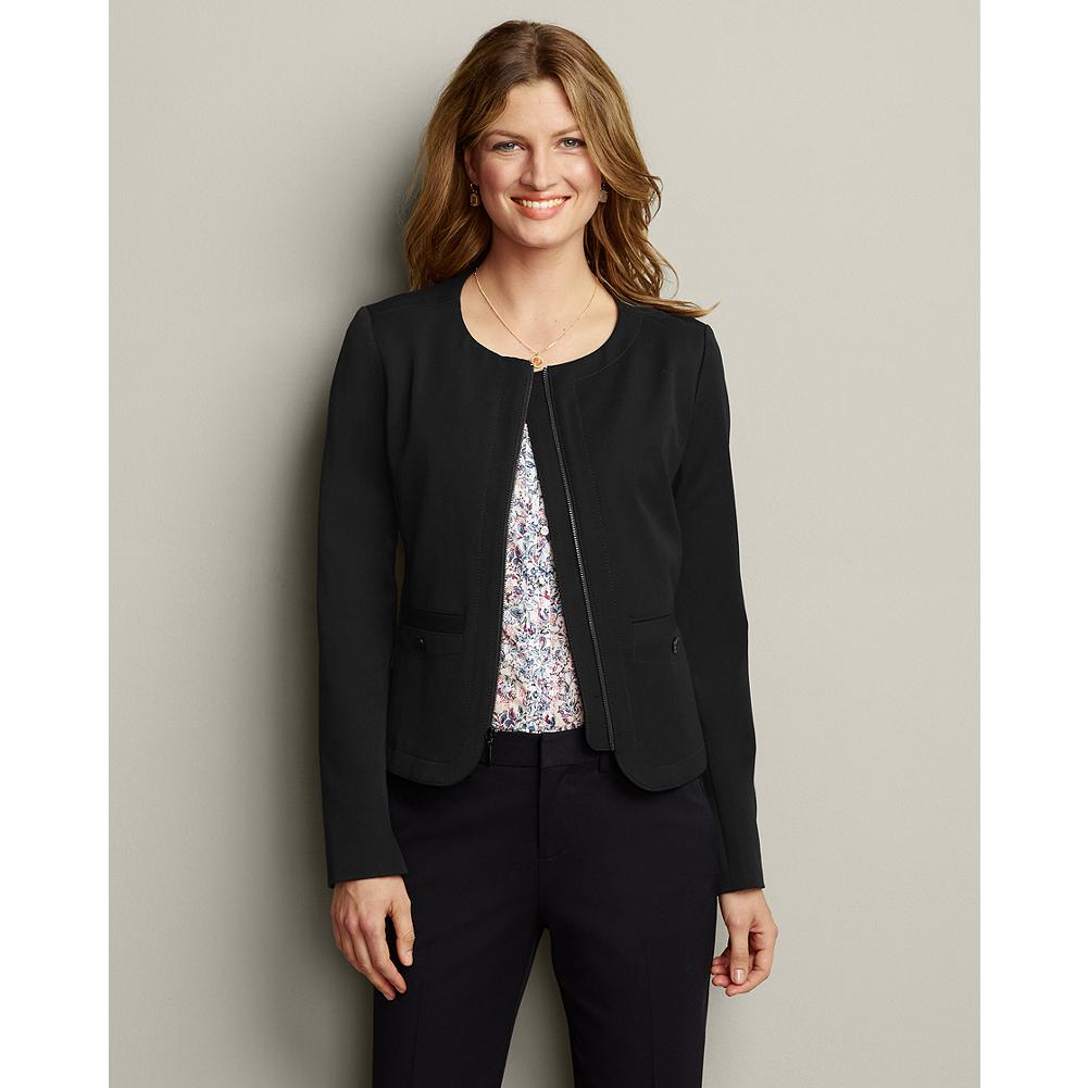 Eddie Bauer Classic Stretch Suiting Novelty Jacket - Our impeccable stretch suiting collection is one you'll reach for again and again. The refined, midweight fabric is multi-seasonal and looks great for any occasion. The silhouette of this novelty blazer is slightly shorter than our classic blazer, hitting at the high hip; front zipper and collarless neckline give it a slightly sporty look. - $49.99