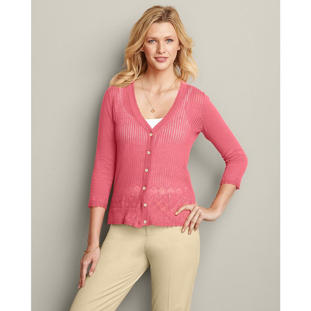 Eddie Bauer Lace Front Cardigan - Instantly make any outfit a little dressier and more feminine, just by adding this delicate lace-front cardigan. The perfect summer layering piece, it features elegant lattice-like stitching at the cuffs and hem. - $14.99