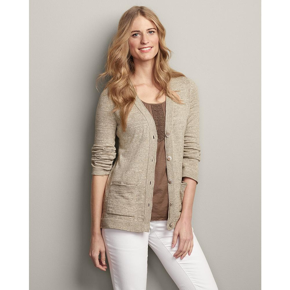 Eddie Bauer V-Neck Slub Cardigan - This lightly textured V-neck cotton cardigan features a classic look and fit, and goes with practically everything in your closet, making it a versatile travel companion. - $29.99