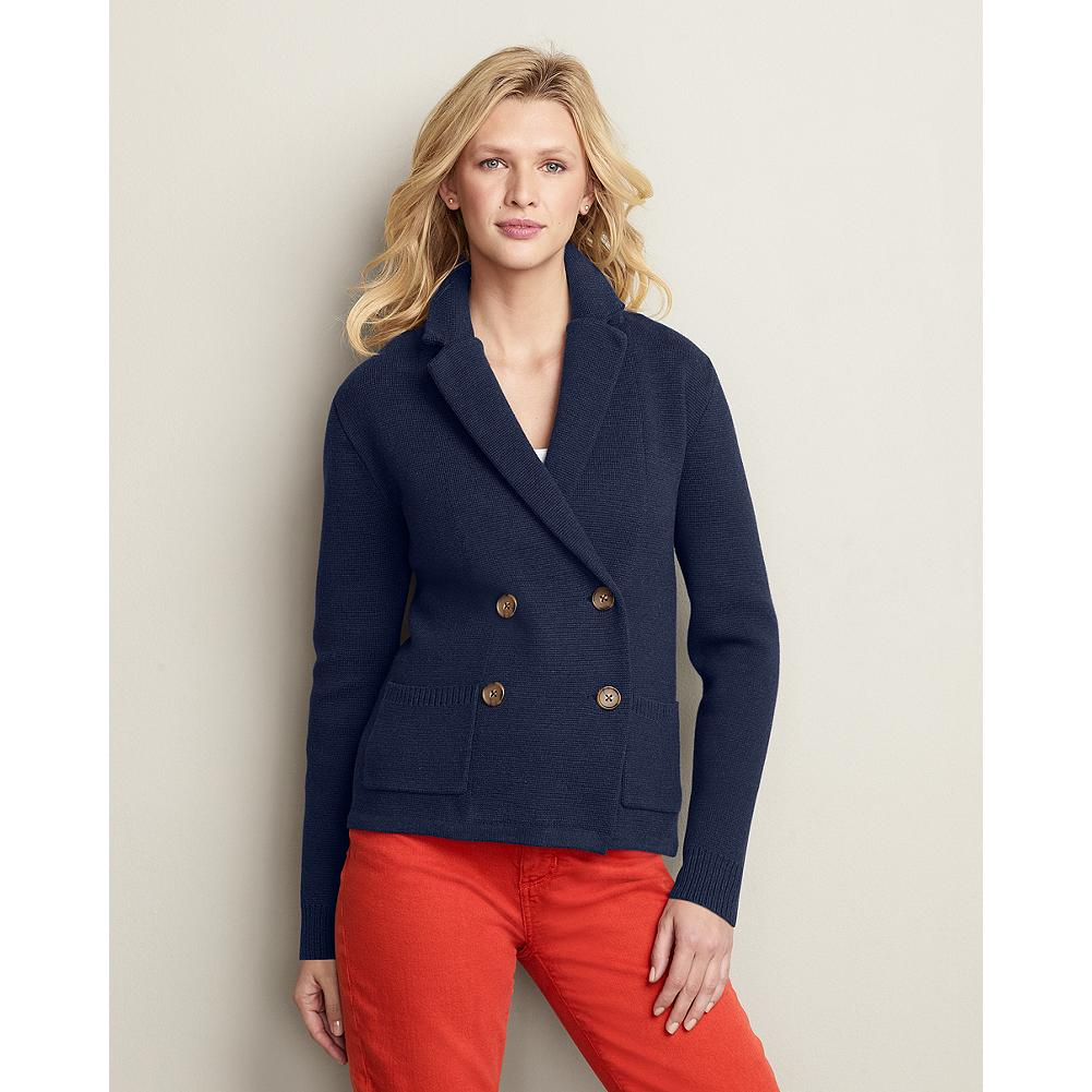 Eddie Bauer Double-Breasted Blazer - This jacket combines softness of a sweater with the classic styling of a double-breasted blazer for a nautical look that you can take from the boat to the office. - $39.99