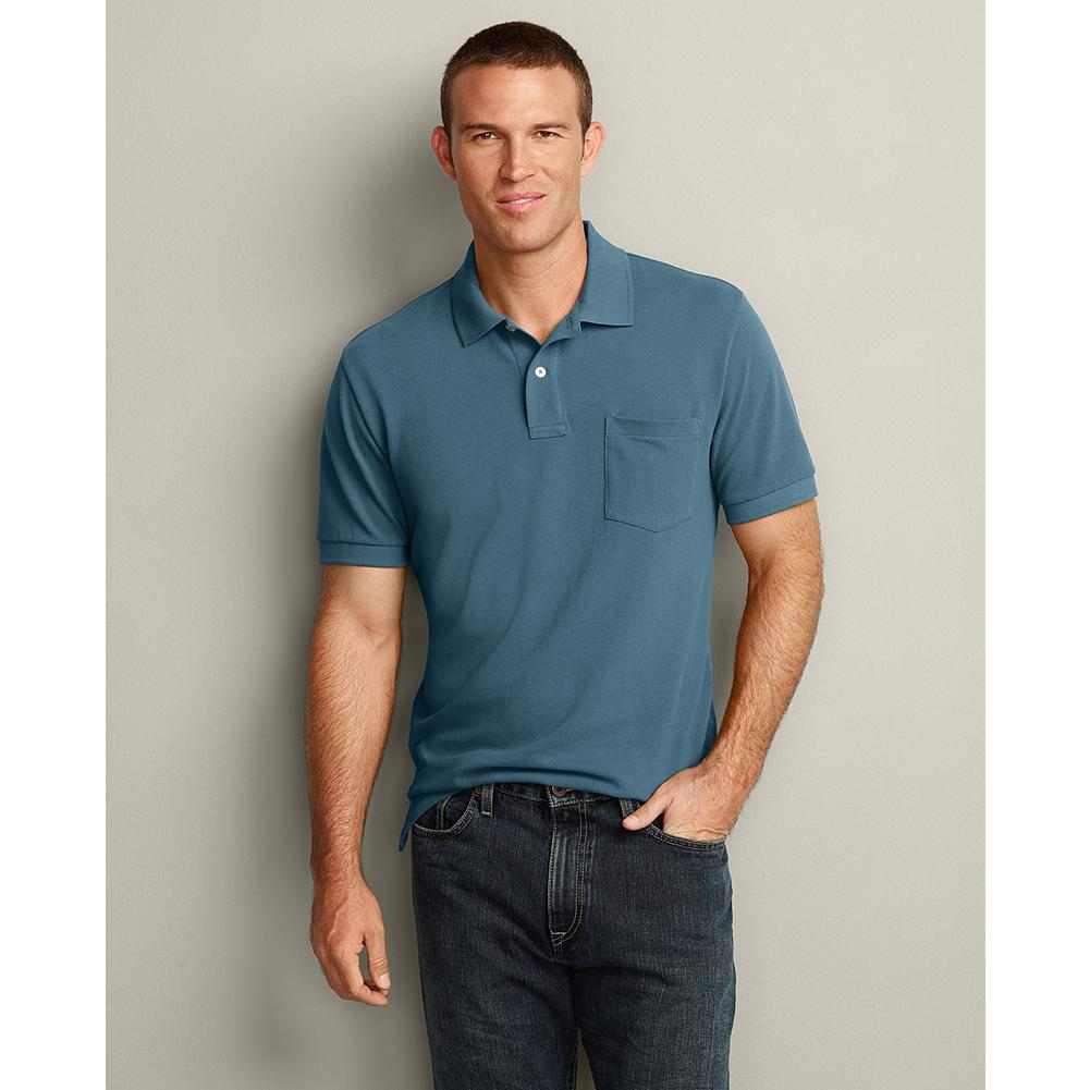 Eddie Bauer Classic Fit Short-Sleeve Pocket Field Pique Polo Shirt - We updated our field polos, making them slightly wider in the shoulders and increasing the sleeve openings by an inch, for a new, easier fit. Superior cotton pique resists wrinkles, fading, shrinking and pilling and gives our shirts superior shape retention - including collars that stay flat. - $19.99