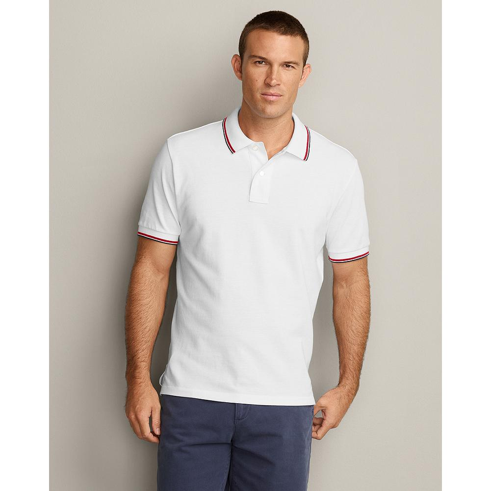 Eddie Bauer Tipped Field Polo - We updated our field polos, making them slightly wider in the shoulders and increasing the sleeve openings by an inch, for a new, easier fit. Superior cotton pique resists wrinkles, fading, shrinking and pilling and gives our shirts superior shape retention-including collars that stay flat. - $19.99