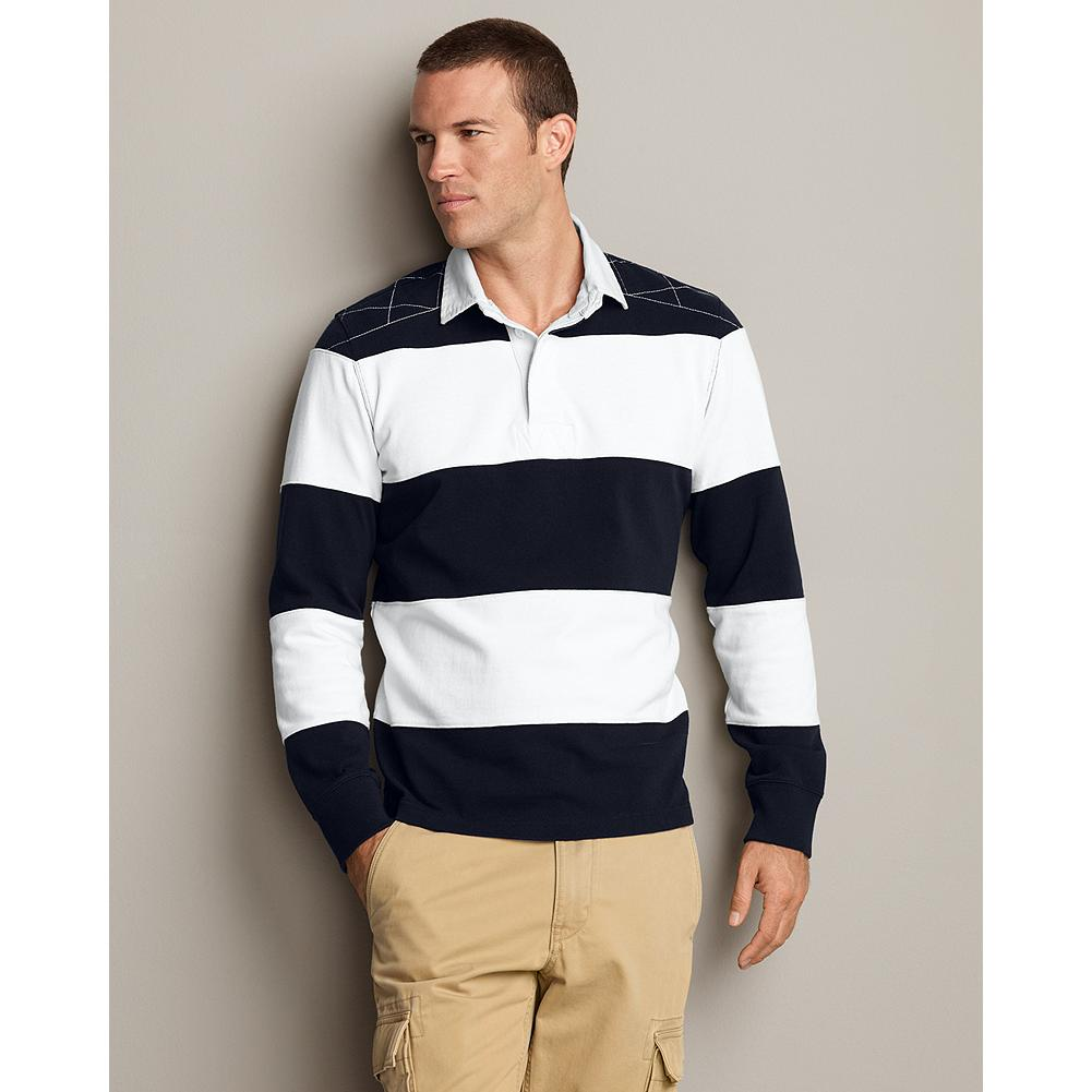 Eddie Bauer Long-Sleeve Striped Rugby - An Eddie Bauer anniversary classic, inspired by vintage rugby shirts. Signature reinforced diamond rugby stitching on shoulder yoke. - $29.99