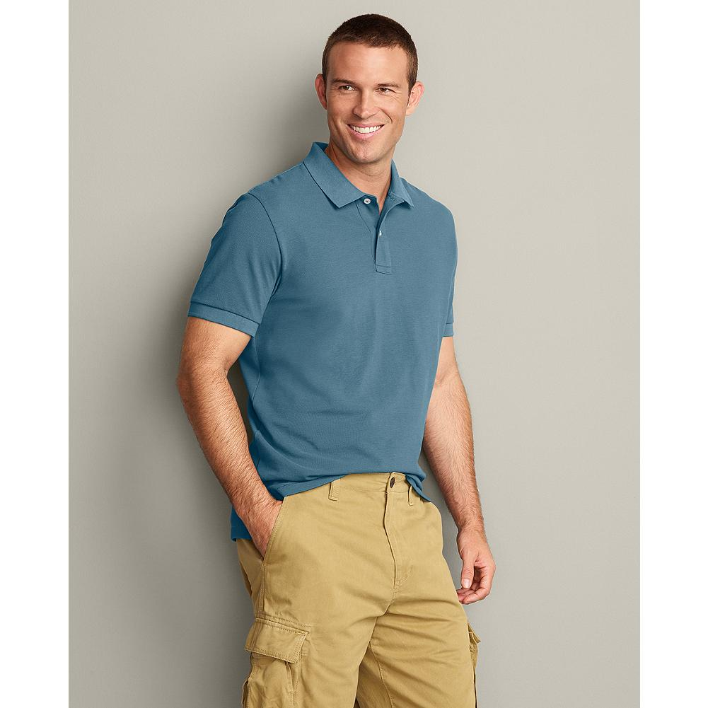 Eddie Bauer Classic Fit Short-Sleeve Field Pique Polo - We updated our field polos, making them slightly wider in the shoulders and increasing the sleeve openings by an inch, for a new, easier fit. Superior cotton pique resists wrinkles, fading, shrinking, and pilling and gives our shirts superior shape retention-including collars that stay flat. - $29.95