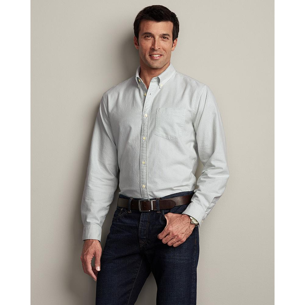 Eddie Bauer Classic Fit Legend Wash Oxford Shirt - Stripe - Our go anywhere, do anything oxford cloth shirt is treated with our exclusive Legend Wash for exceptional softness and comfort from the first time you put it on. - $19.99