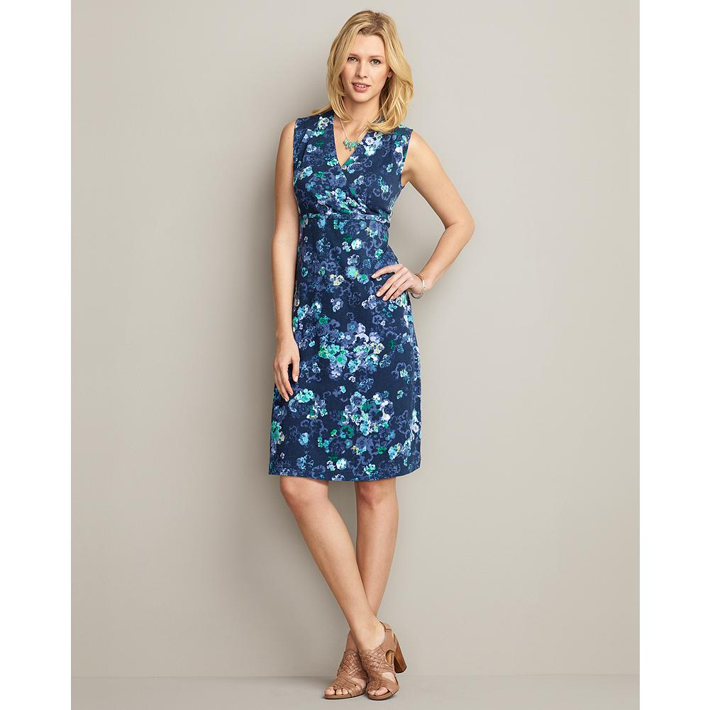 Entertainment Eddie Bauer Sleeveless Print Dress - This sleeveless knit dress features a beautiful floral print, crossover bodice, and full-shoulder coverage. A self-fabric draw cord ties in the back. - $29.99