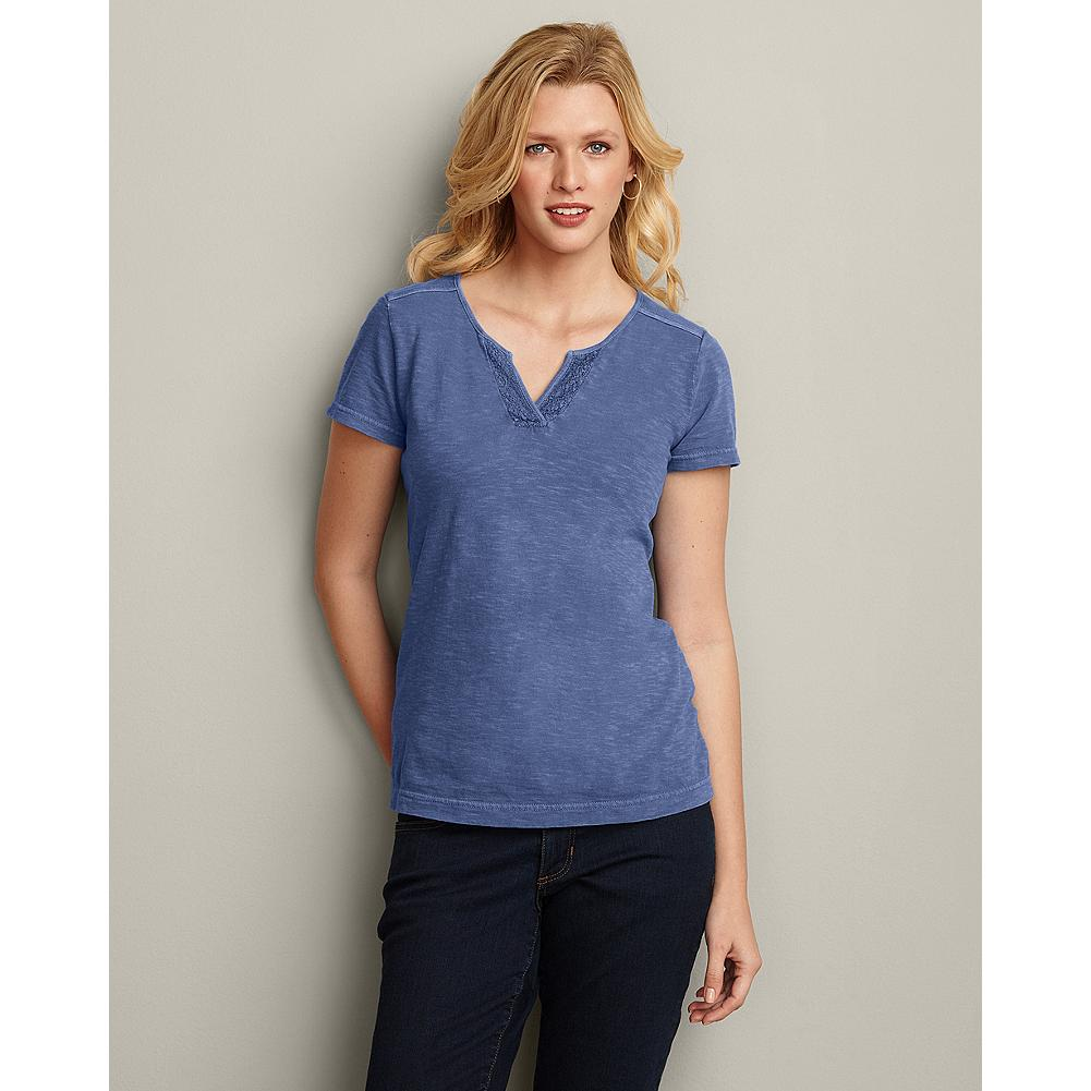 Eddie Bauer Embroidered Split-Neck T-Shirt - A great value, this embroidered cotton split-neck T-shirt pairs well with skirts, denim, or Legend Wash pants, shorts, or capris. - $9.99