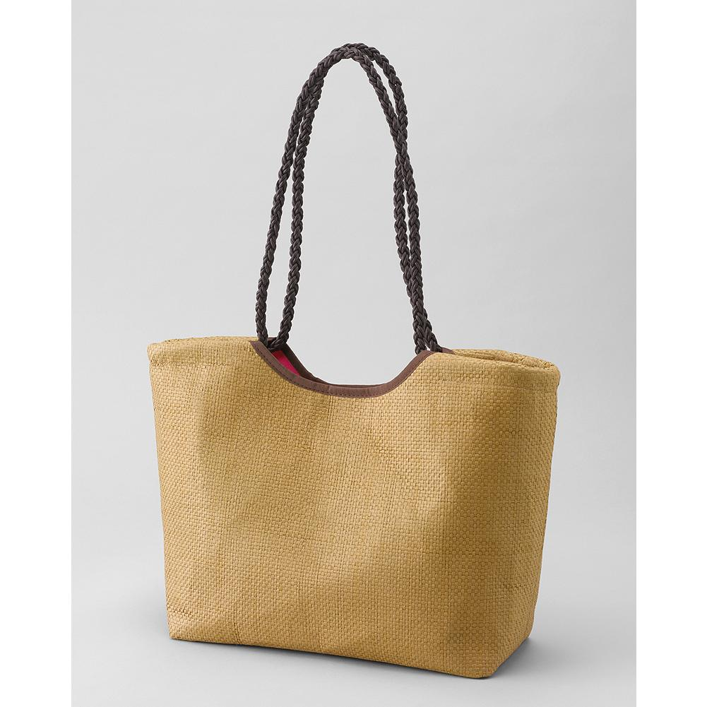 Eddie Bauer Straw Beach Tote - The perfect carry-all for trips to the beach or farmer's market, our generously-sized straw tote is designed with a flat rectangular bottom, so it won't tip over when you set it down. - $19.99