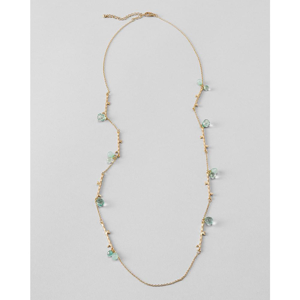 "Entertainment Eddie Bauer Long Tree Branch Necklace - Pale blue glass beads mix with whimsical miniature ""tree branches"" in this beautiful adjustable-length necklace. - $19.99"