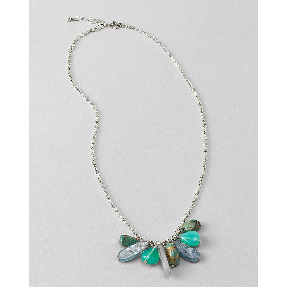 Surf Eddie Bauer Short Green Stone Necklace - A simple silver-tone chain is adorned with natural stones and glass bead charms in cool shades of surf and sky. - $24.99