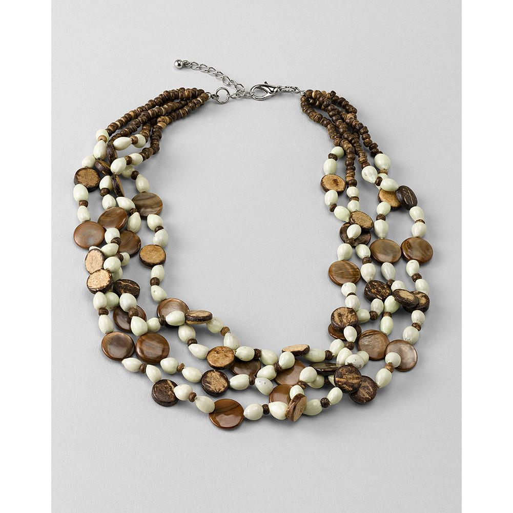 Entertainment Eddie Bauer Wooden Bead Necklace - Multiple strands of wooden beads, shells and panya seeds combine to create a gorgeous statement piece. - $29.99