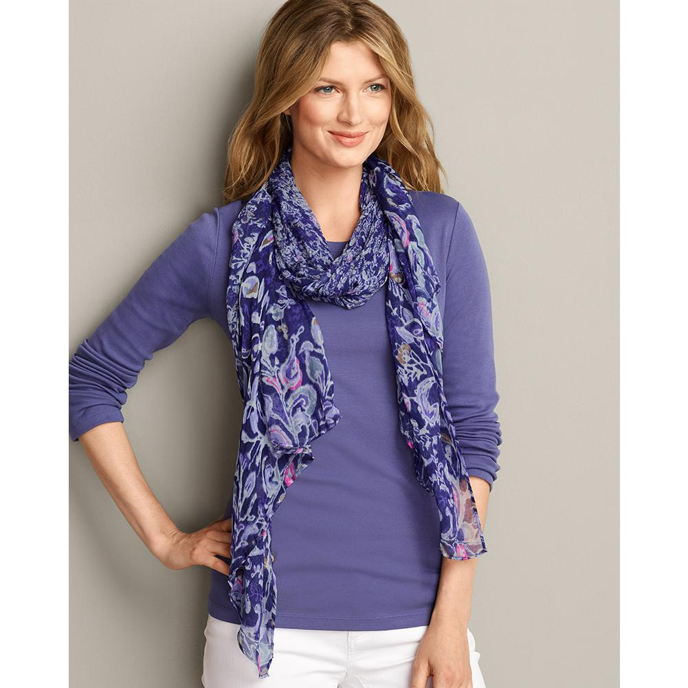 Eddie Bauer Paisley Floral Scarf - Accessorize your warm weather wardrobe with this airy lightweight scarf in a graduated paisley pattern. - $39.95