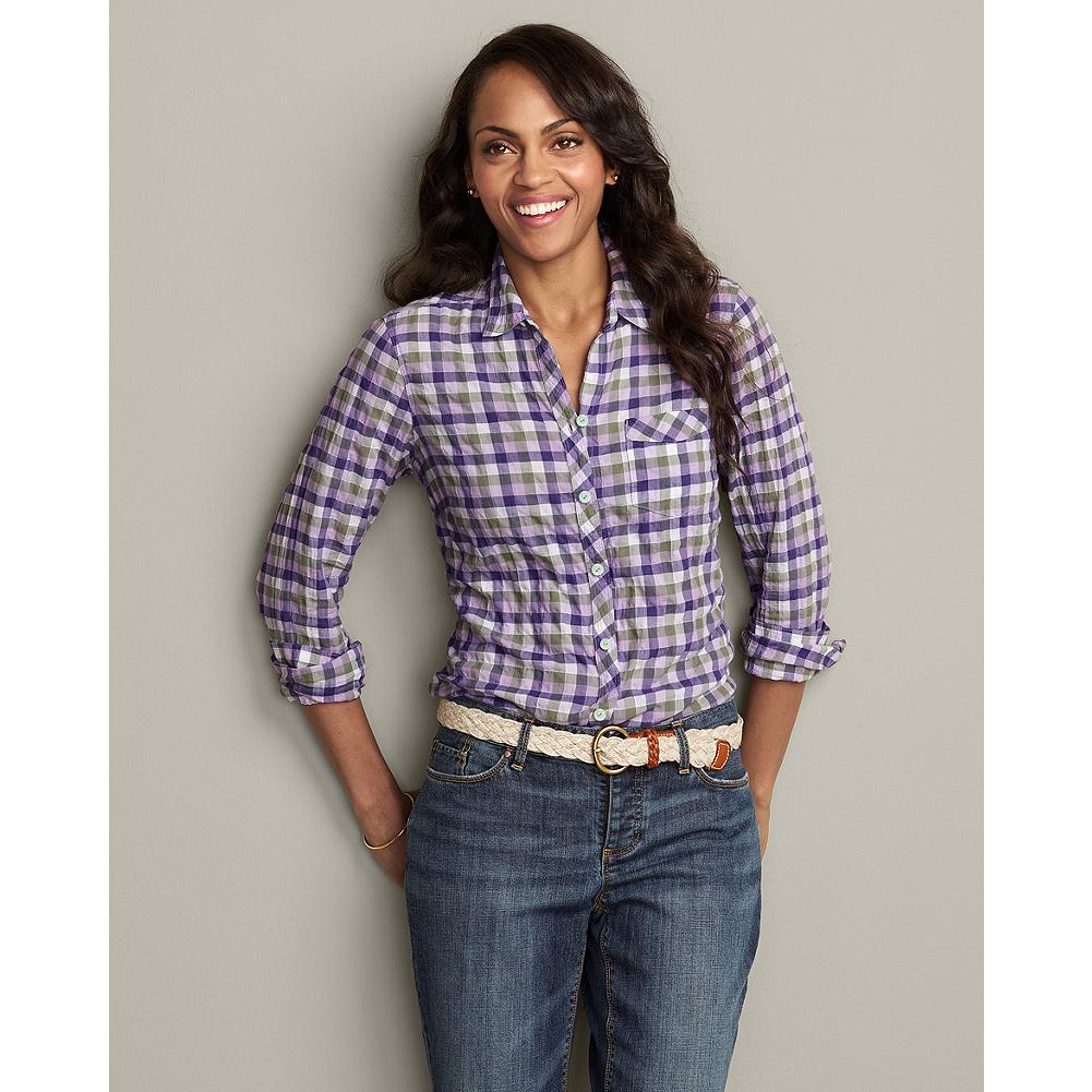 Eddie Bauer Long Sleeve Packable Shirt - Lightweight, packable, and perfectly comfortable, this long-sleeve shirt is ideal for weekend trips or any time you want to bring along a light extra layer. - $14.99