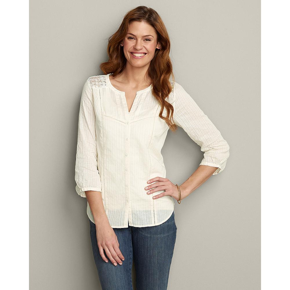 Eddie Bauer Three-Quarter Sleeve Solid Underpinning Shirt - Based on our best-selling Vintage Lace Underpinning Shirt, this beautiful blouse features flattering three-quarter length sleeves and delicate lace trim for a versatile spring look that pairs perfectly with shorts, jeans or your favorite skirt. - $29.99