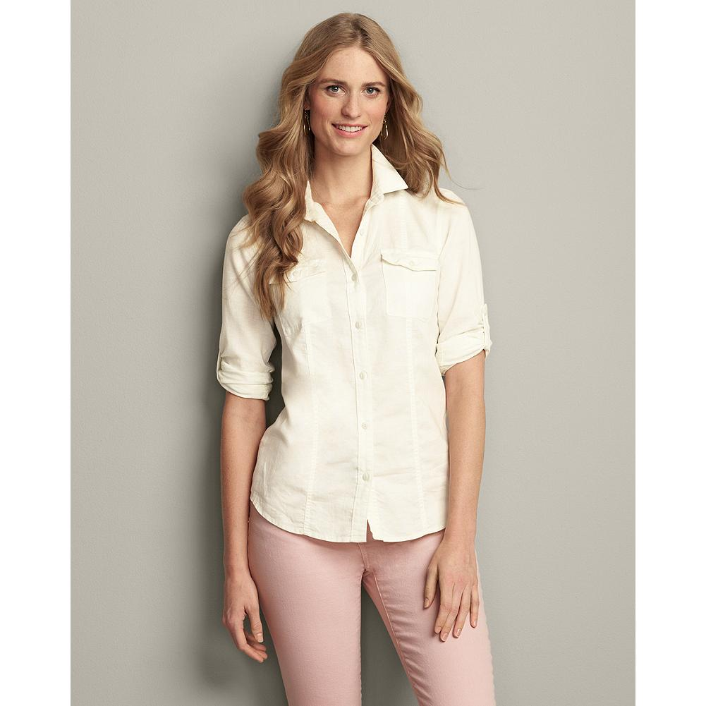 Eddie Bauer Linen/Cotton Yarn-Dyed Shirt - This packable, long-sleeve shirt features roll-tab sleeves, allowing you to adapt easily to changing temperatures. Seams front and back create a shaped fit. - $19.99