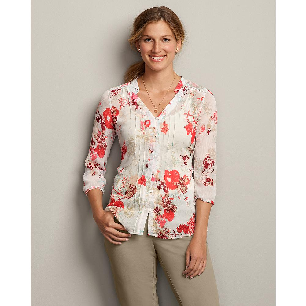 Eddie Bauer Sheer Printed Blouse - Delicate pintucking details compliment a fresh floral pattern in this sheer, easy-draping shirt. Pair it with your favorite jeans, or layer it under a sweater or jacket for a more refined look. - $29.99