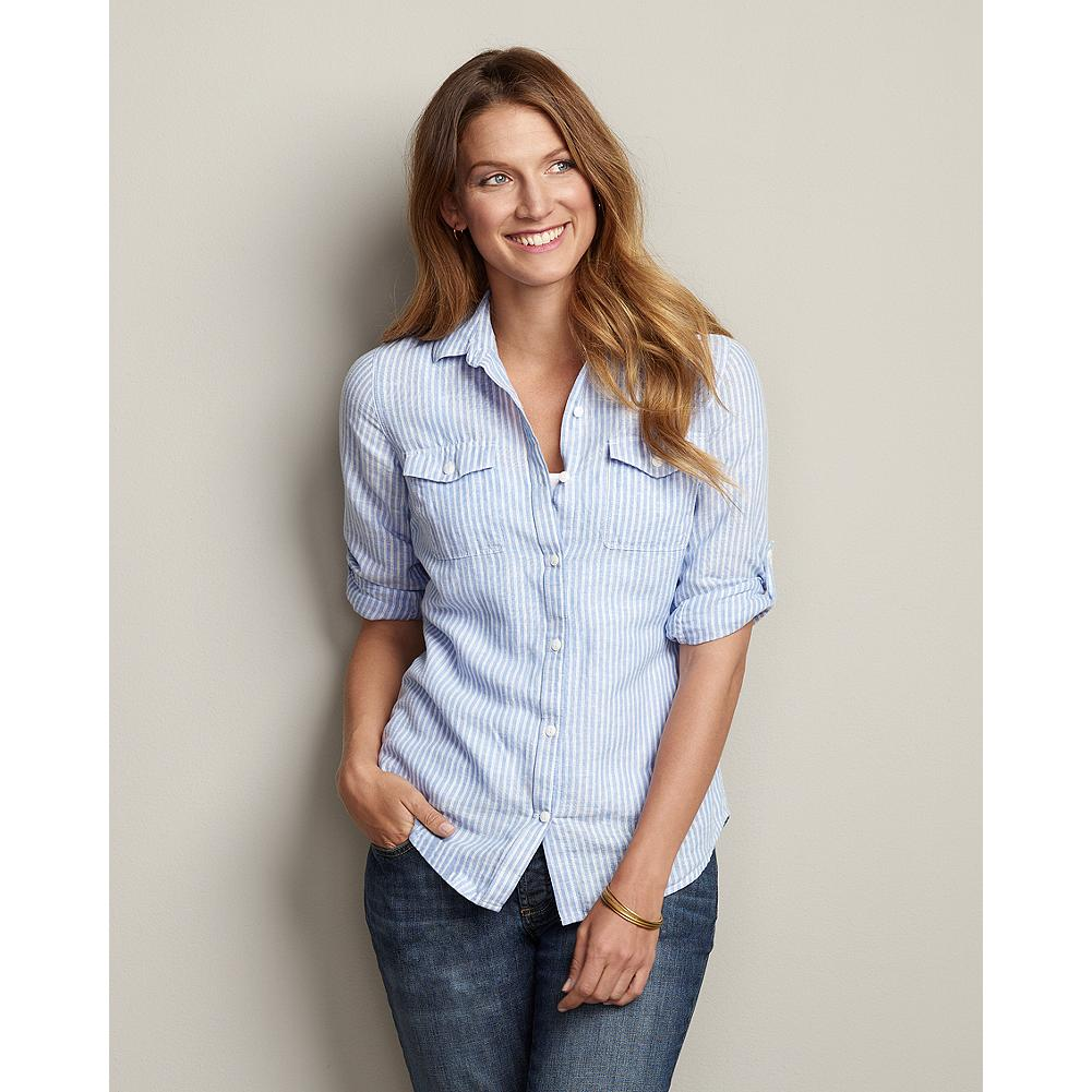 Eddie Bauer Cotton/Linen Striped Shirt - Our packable, lightweight cotton/linen shirt adapts easily to any warm-weather destination with long-sleeves that roll and fasten with button tabs when temperatures rise. - $59.95