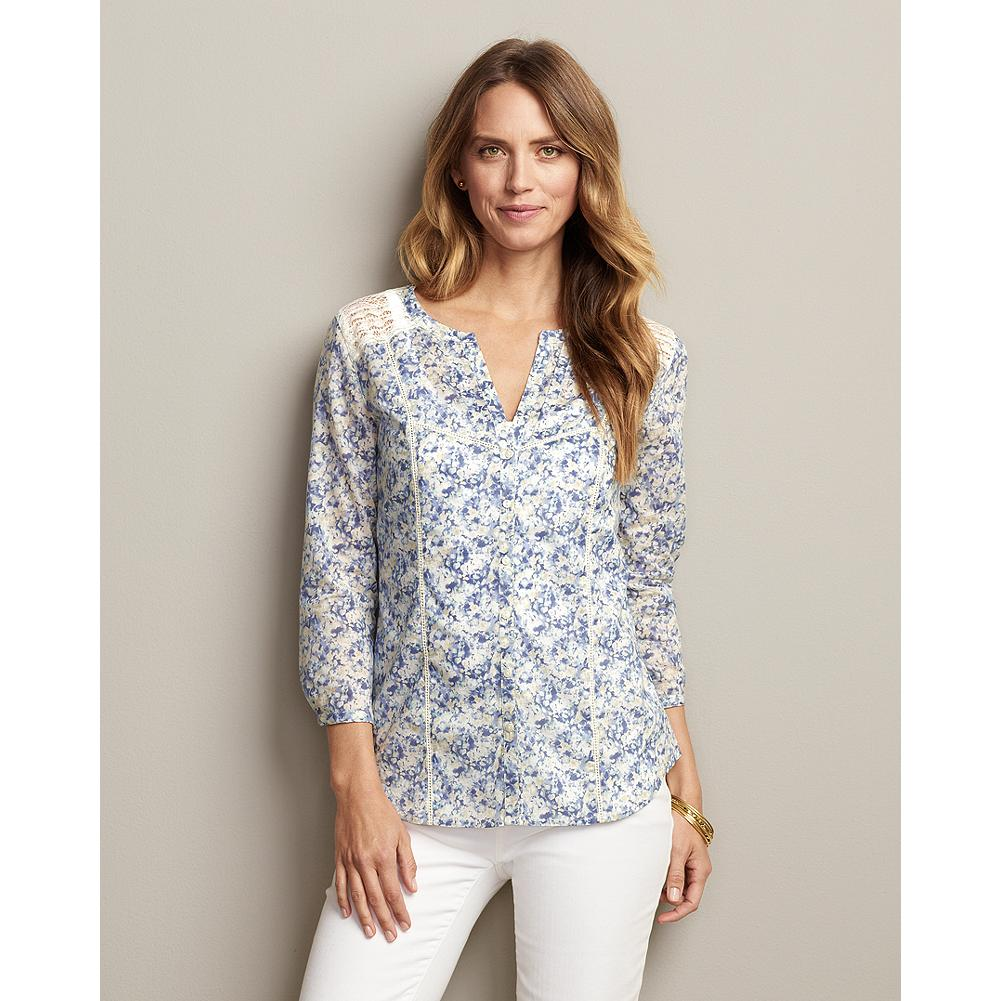 Eddie Bauer Three-Quarter Sleeve Print Underpinning Shirt - Based on our best-selling Vintage Lace Underpinning Shirt, this beautiful blouse features flattering three-quarter length sleeves and delicate lace trim for a versatile spring look that pairs perfectly with shorts, jeans or your favorite skirt. - $19.99