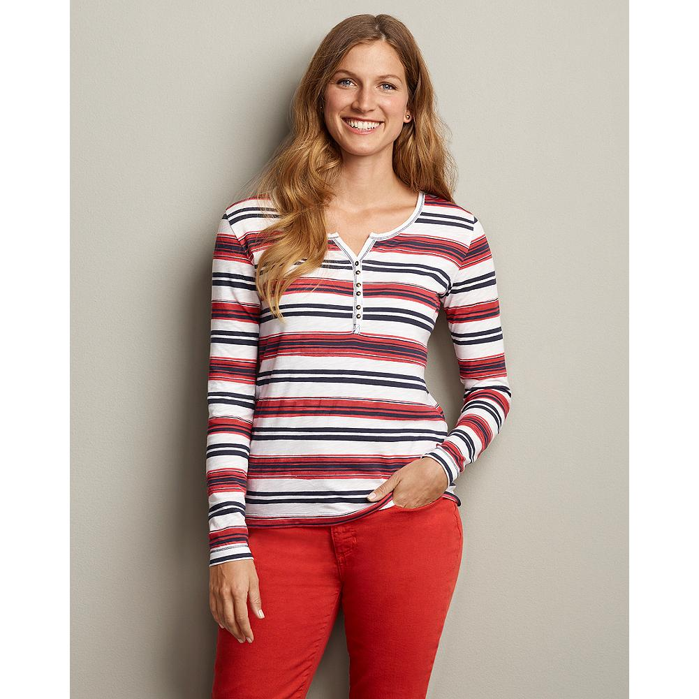 Eddie Bauer Striped Henley - This traditional henley-styled knit top features a great nautical stripe for spring. Wear it layered under jackets, with color denim jeans, or your favorite shorts. - $19.99