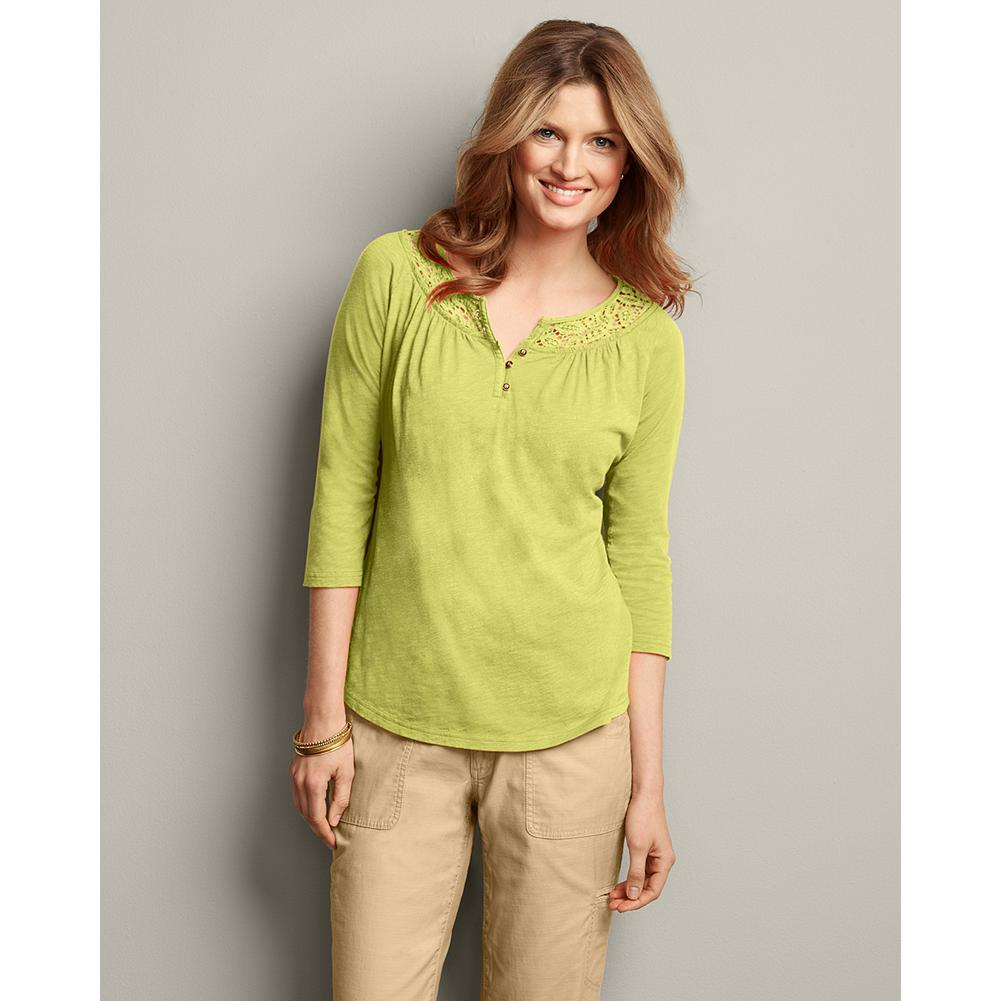 Eddie Bauer Lace-Inset Henley - Our bestselling henley style is made with a refined slub cotton jersey. The exceptionally soft fabric uses yarns with alternating thick and thin segments to create subtle texture and rich, dimensional color. Lacy trim at the neckline elevates the traditional henley, so you can wear it either casually or with nice pants or a skirt. - $9.99