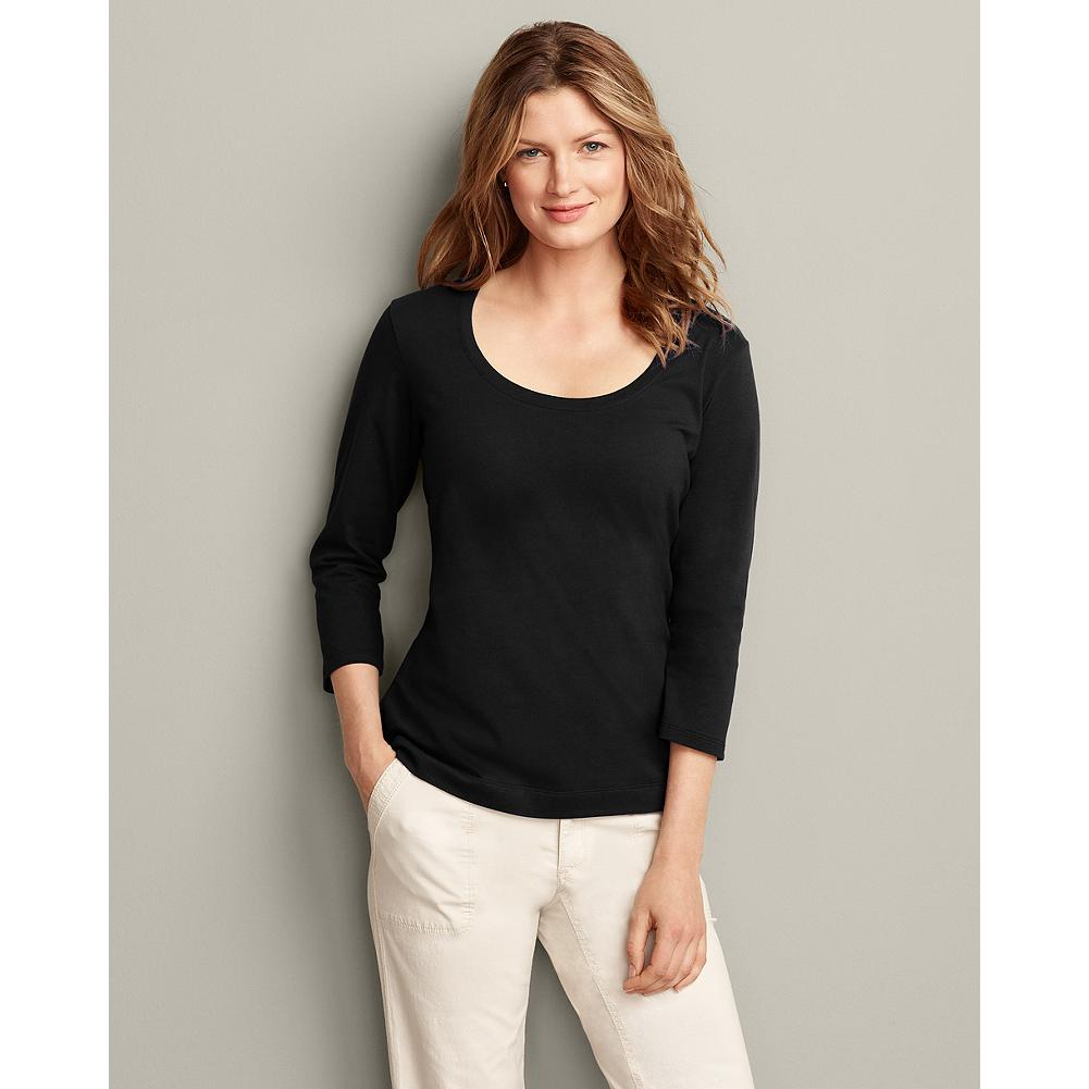 Eddie Bauer Pima Cotton Jersey 3/4-Sleeve Scoop-Neck T-Shirt - Our finest-quality T-shirt is made of premium pima cotton that's exceptionally soft and smooth, yet retains it's shape wash after wash. And this season we've updated it with our classic fit for an even more flattering silhouette. - $12.99