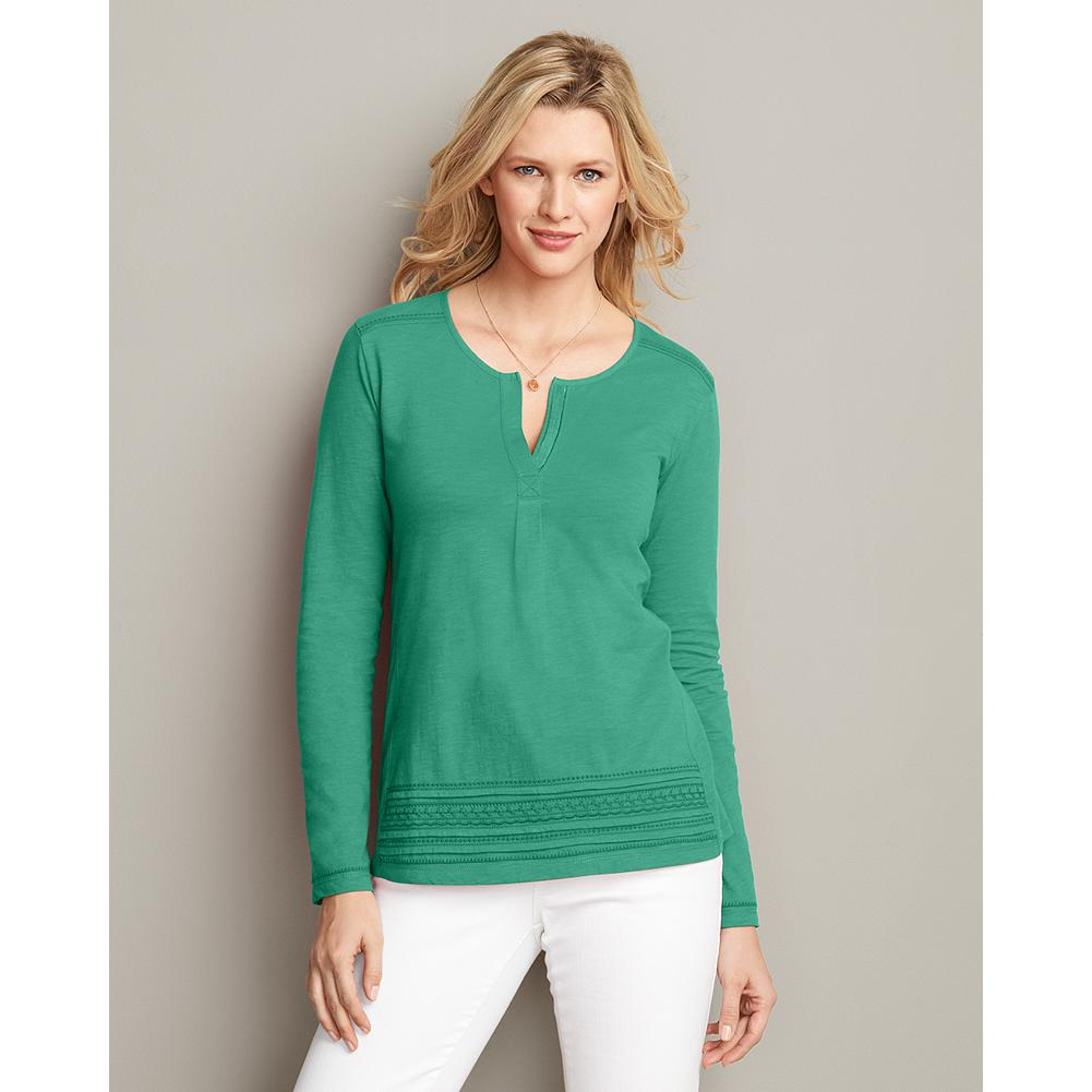 Eddie Bauer Long-Sleeve Embroidered Split-Neck T-Shirt - Touches of delicate trim, tiered at the hem, lend allure to this tunic-silhouette T-shirt. Split-neck style has embroidery at the sleeves, hem, and yoke. - $9.99