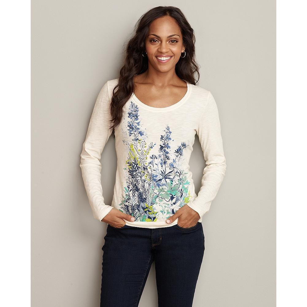 Eddie Bauer Botanical Sketch T-Shirt - This pretty, textured-cotton T-shirt blooms with a subtle botanical pattern. Pair it with your favorite jeans, shorts or skirt for an easy, feminine look that's perfect for any warm-weather adventure. - $14.99