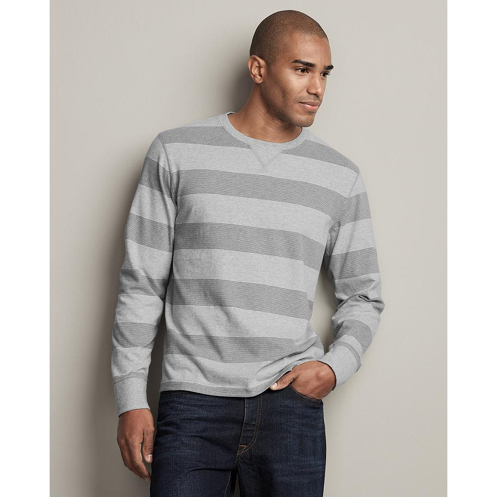 Eddie Bauer Striped Sueded Jersey Crewneck - A reintroduction of an Eddie Bauer classic, this buttery soft, striped crewneck looks great alone or makes a good layer on cooler nights. The durable, sueded rib trim has excellent recovery. - $19.99