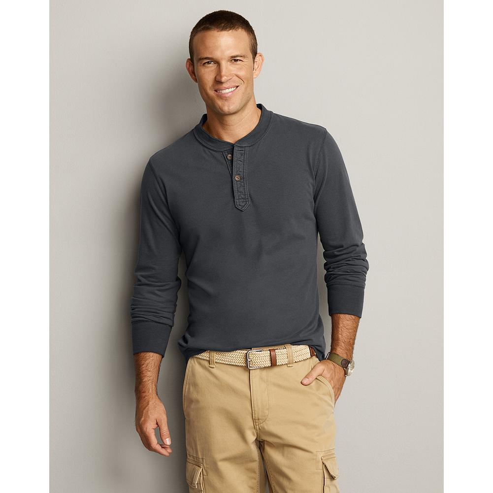 Entertainment Eddie Bauer Sueded Jersey Henley - A reintroduction of an Eddie Bauer classic, this buttery soft henley looks great alone or makes a good layer on cooler nights. The durable, sueded rib trim has excellent recovery. - $19.99