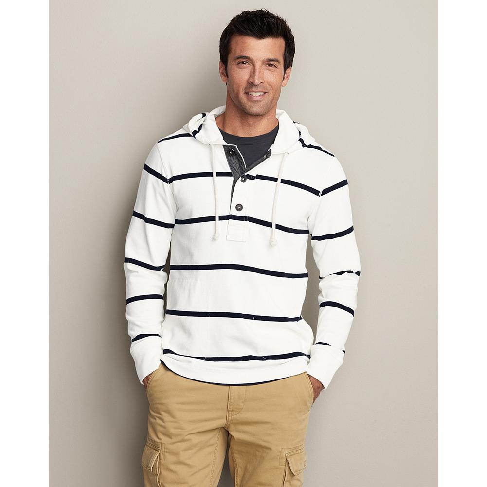Entertainment Eddie Bauer Striped Hooded Henley - This comfortable hooded henley features an on-trend nautical look in an ideal medium- to heavyweight transitional piece, made for layering. - $54.99